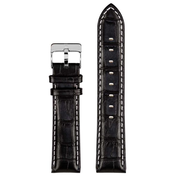 Leather Watch Strap Black Alligator 24mm