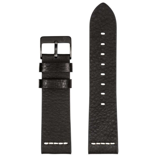 Leather Watch Strap Black 24mm